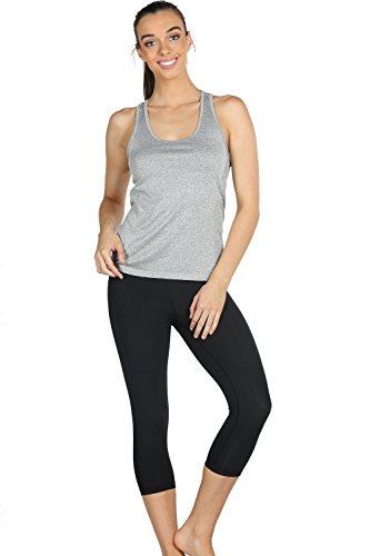 icyzone Activewear Running Workouts Clothes Yoga Racerback Tank Tops for Women (XXL, Granite/Blue/Orange)