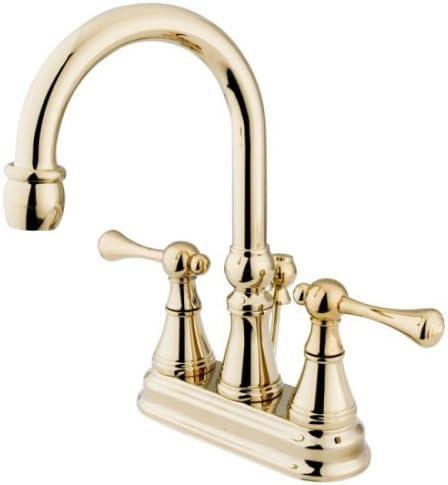 Kingston Brass KS2612BL Vintage 4-Inch Centerset Lavatory Faucet with Brass Pop-Up, Polished Brass