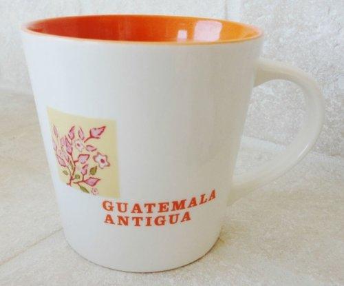 Starbucks Guatemala Antigua Latin America 2005 coffee region Map Ceramic cup mug 18 oz white Orange