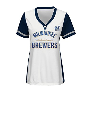 MLB Milwaukee Brewers Women's Team Name Rugged Competitor Pull Over Color Block Jersey, Medium, White/Athletic Navy