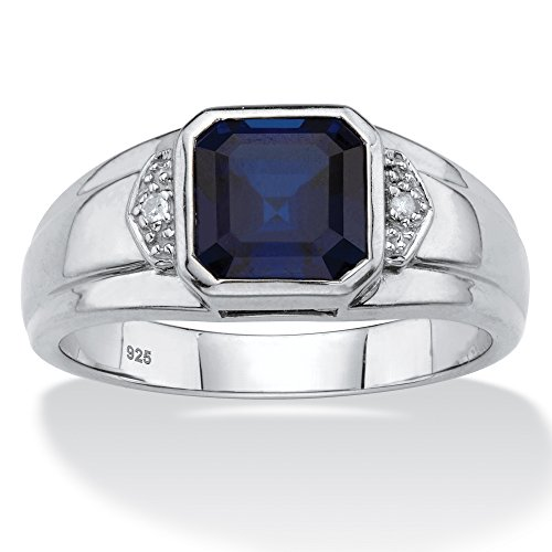- Men's Platinum over Sterling Silver Simulated Blue Sapphire and Diamond Accent Ring Size 8