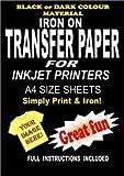 Inkjet Printable Iron On T Shirt & Fabric Transfer Paper For Dark Fabrics 5 A4 Sheets