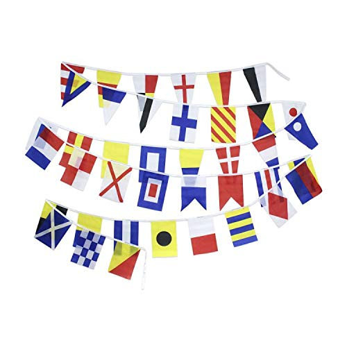 Flaglink International Marine Navy Signal Code Flag Set - String of 40 Flag - 27 Feet Long - Nautical Maritime Marine Boat Ship Vessel Nautical Decoration - International Code Signal Flag