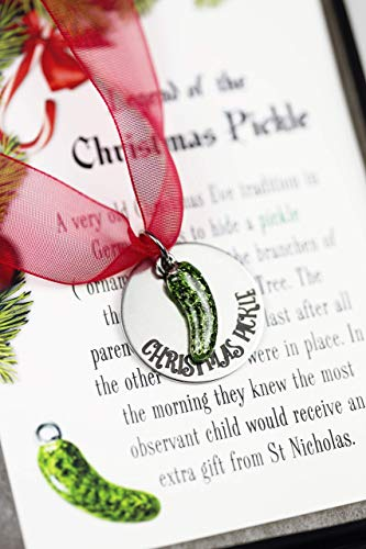 Christmas Pickle Ornament with Legend Card Gift Boxed Holiday Decor (Tradition German Pickle)