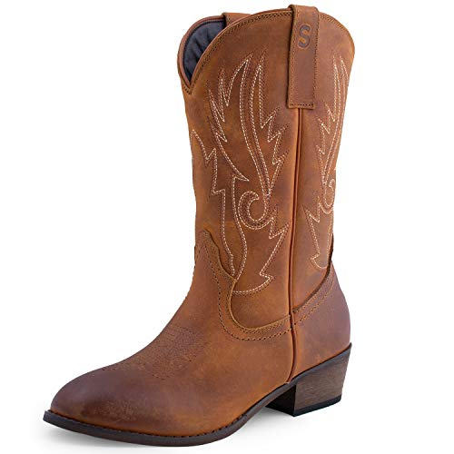 SheSole Women's Western Cowgirl Cowboy Boots Leather Round Toe Country Wedding Shoes Tan US Size 9 - Tan Cowboy Round Boots