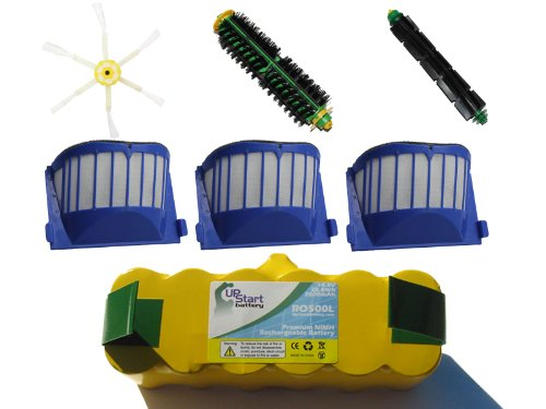 Replacement iRobot Roomba 572 Pet Series (AeroVac) Battery, Filter, Bristle Brush, Flexible Beater Brush and 6-Arm Side Brush - Kit Includes 1 Battery, 3 AeroVac Filter, 1 Bristle Brush, 1 Flexible Beater Brush and 1 6-Arm Side Brush - Roomba 572