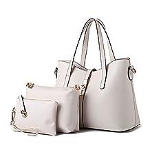 3pc Lady Women's Faux Leather Shoulder Tote Bag Business Top-handle Handbags Wallet Purse Set