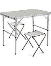 Sunkorto 2-Person Folding Picnic Table with 2 Stools, 3 Feet Aluminum Table Chair Set Heights Adjustable, Portable and Lightweight for Outdoor, Camping, Dining, BBQ Party