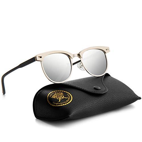 Semi Rimless Polarized Sunglasses for Men Classic Metal Retro Rivets Women Sun Glasses with Case (Silver/Silver)