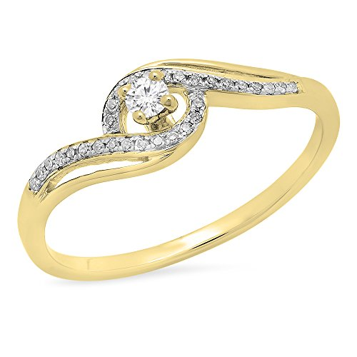 (Dazzlingrock Collection 0.15 Carat (ctw) 14K Round White Diamond Split Shank Bridal Engagement Ring, Yellow Gold, Size 7)