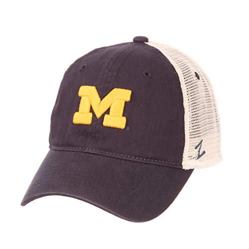 (Zephyr NCAA Men's Relaxed Fit Vintage- University- Adjustable Trucker Hat Cap (Adjustable, Michigan Wolverines))