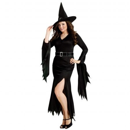 FunWorld Plus-Size Gothic Witch, Black, 16W-24W (Witches Costume Ideas For Adults)