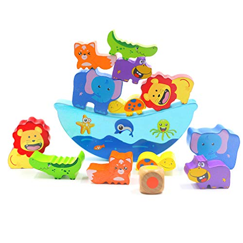 - DreamsEden Stacking Block - Baby Fine Motor Skills Learning Wooden Animal Balance Boat Stacker Toy for 1 Year Old and up