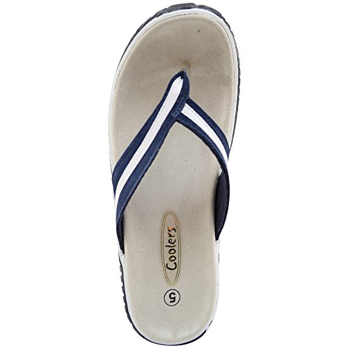 Ladies / Womens Real Leather Suede Beach / Summer / Holiday Sandals / Flip Flop / Shoes Navy eGeB3T4t2