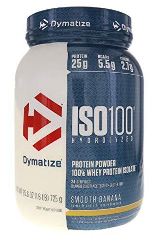 Dymatize ISO 100 Hydrolyzed Whey Protein Powder Isolate, Smooth Banana, 1.6 Pound
