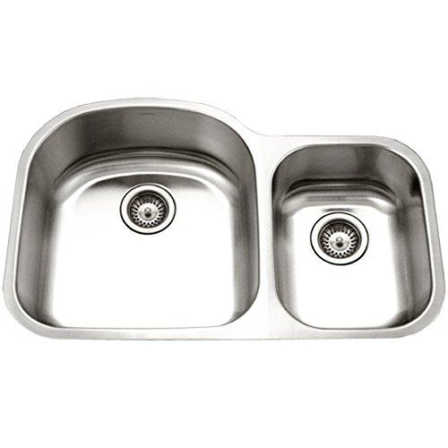 Houzer STC-2200SR-1 Eston Series  Undermount Stainless Steel 70/30 Double Bowl Kitchen Sink, Small Bowl Right, 18 Gauge (Sink Bowl Double)