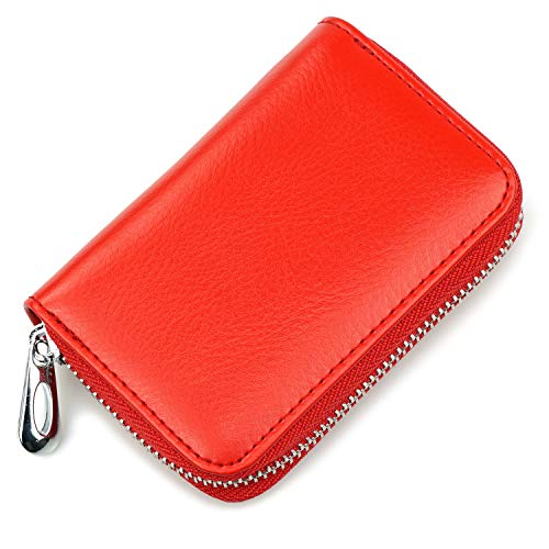 Small Leather Credit Card Wallet with Zipper - Genuine Leather Credit Card Holder Small Accordion Wallet