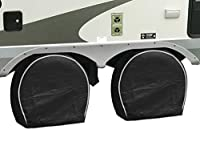 "Set of 4 Premium Vinyl RV/Trailer Tire Covers – Extra Thick & Waterproof to Protect Against UV Rays and Low Temperatures. The Ideal Wheel Cover for Storage or While on The Road. Fits 27-29"" Wheels"