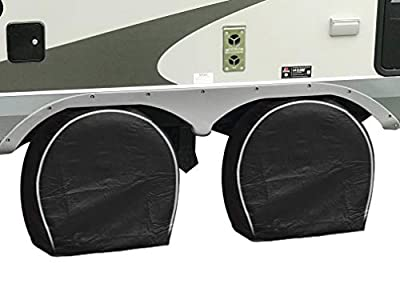 """Set of 4 Premium Vinyl RV/Trailer Tire Covers – Extra Thick & Waterproof to Protect Against UV Rays and Low Temperatures. The Ideal Wheel Cover for Storage or While on The Road. Fits 27-29"""" Wheels"""