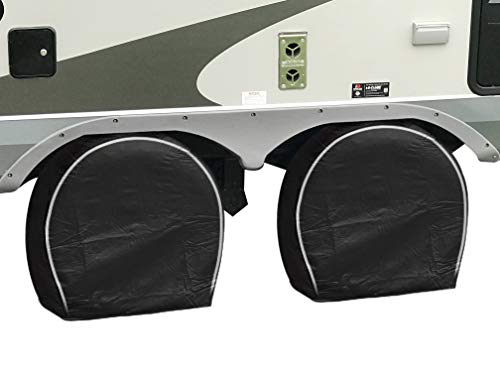 HJO Products Set of 4 Wheel Tire Covers - Black Vinyl Waterproof UV Protective RV, Trailer, Camper, Truck Tire Protectors, Fits 27 to 29 Diameter – Premium Heavy Duty Protection for Your Tires