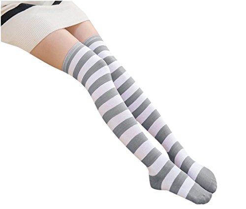 Anime Multicolor Preppy Over Knee Mizore Shimakaze Stripe Stockings (Grey+White)