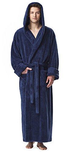 (Arus Men's Fleece Robe, Long Hooded Turkish Bathrobe, Navy Blue,)