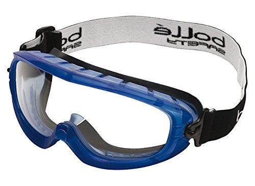 Bollé Safety 254-AT-40092 Atom Strap Safety Goggles with Blue PVC Frame and Clear Lens