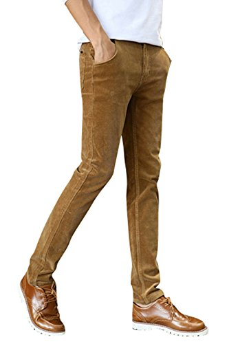 Menschwear Men's Corduroy Pants Stretch Slim Fit Tapered Legs Khaki 28