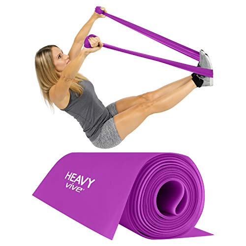 Vive Flat Resistance Band - Elastic Exercise Equipment - Straight Stretching Fitness Training for Full Body, Leg, Crossfit, PT, Yoga Stretch, Rehab Therapy - Home Gym for Men & Women (Heavy) (Best Fitness Tracker For Insanity)