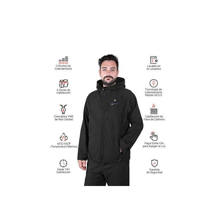 41Bbd Nj5vL 4 Grandes Zonas de Calentamiento: La chaqueta térmica OUTCOOL tiene elemento de calefacción en 4 zonas: pecho izquierdo, pecho derecho, espalda y cuello. Tecnología de calentamiento rápido de alta calidad, que se calientan rápidamente durante los períodos fríos al emitir una buena cantidad de calor 4 Modos de Control de Temperatura: La chaqueta térmica calentada tiene 4 modos de control de temperatura de diseño: ① Precalentamiento: luz roja intermitente, calentamiento rápido; ② temperatura alta: luz roja; ③ temperatura media: luz blanca ; ④ temperatura baja: luz azul Capa Exterior Impermeable y Forro Polar: La chaqueta térmica térmica tiene una capa exterior hecha de tela impermeable a prueba de viento y tiene un buen efecto protector en el mal tiempo; el forro interior es de felpa, más abrigado y muy adecuado para escalada al aire libre, esquí, motociclismo, etc.