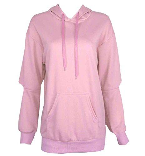 Rcool Frauen kurz Hoodie Sweatshirt Sport Pulli Pullover Pullover Ernte Sport  Pullover Tops Kapuzenpullover Rosa