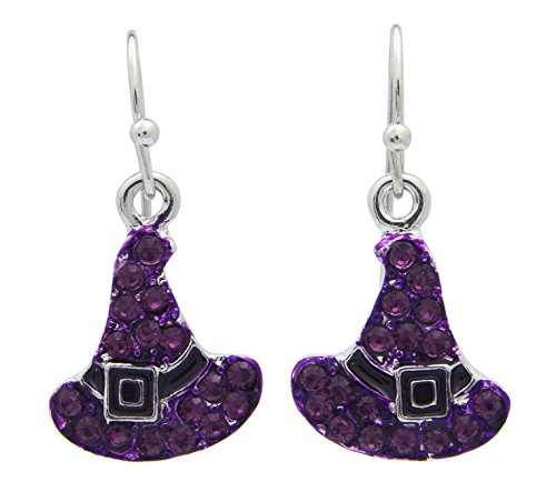 Witch's Hats Rhinestone Fish Hook Earrings with Purple Crystals and Black Enamel