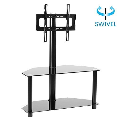 RFIVER Black Corner Floor TV Stand with Swivel Mount Bracket for 32-55 inches TVs, 2-Tier Tempered Glass Shelves for Audio Video, TW2001