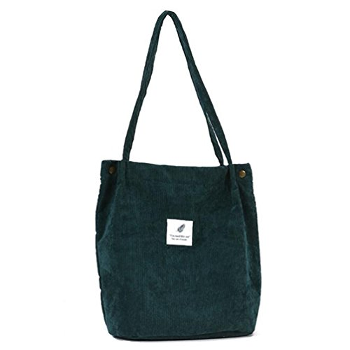Classic Retro Corduroy Pure Color Simple Chic Shoulder Travel Shopping School Student Work Weekend Tote Bag Daypack (Dark Green)