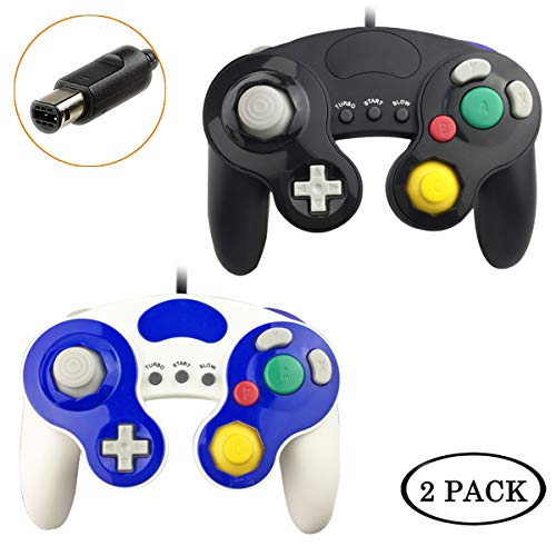 Gamecube Controller, 2 Pack Classic Wired Compatible with Nintendo Gamecube Controller for Wii U, PC, Switch,WII, Super Smash Bros Ultimate Nintendo Switch Controller (Black+White)