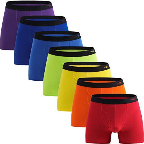 Innersy Men's 7 Pack Underwear Boxer Briefs Soft Cotton Classic Boxer Briefs Underwear(Small, Solid 1)