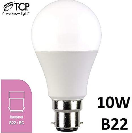 TCP - Bombilla LED tipo globo (B22, BC, 3000 K, 230 °, 4 unidades, 10 W, casquillo B22), color blanco cálido: Amazon.es: Iluminación
