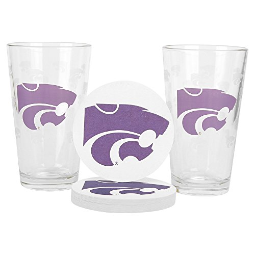 NCAA Pint Glass and Coaster Set (2 Pack) (Kansas State Wildcats)