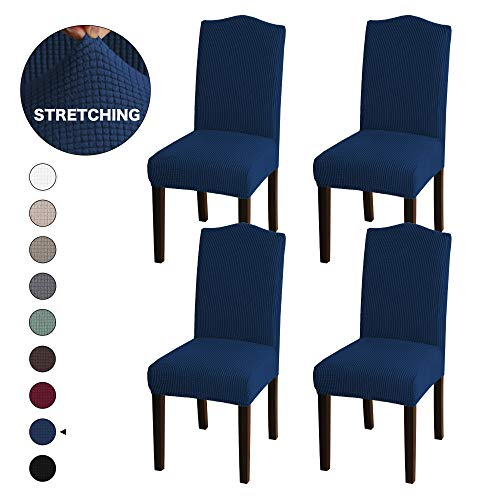 Turquoize Stretch Dining Room Chair Covers Jacquard Removable Washable Kitchen Parson Chair Slipcovers Chair Protector Cover for Hotel, Dining Room, Ceremony, Wedding Party Set of 4, Navy