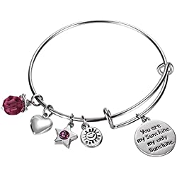 NaNa Chic Jewelry You are my sunshine, my only sunshine Women Pendant Expandable Wire Bangle Adjustable Birthstone Bracelet, February , B001-002