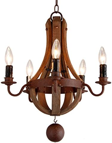 16.7″ Vintage Rustic Mini Chandelier Pendant Light French Country Wood Metal Wine Barrel 5 Light Heads Rustic Iron