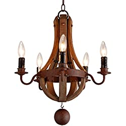 "16.7"" Vintage Rustic Mini Chandelier Pendant Light French Country Wood Metal Wine Barrel (5 Light Heads) Rustic Iron"