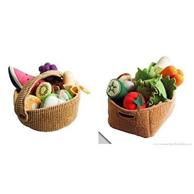 Ikea Duktig Children's 9 Piece Fruit Basket Set and 14 Piece Vegetable Set: Toys & Games