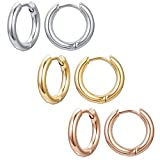 3-4 Pairs Surgical Steel Earrings for Men Gold