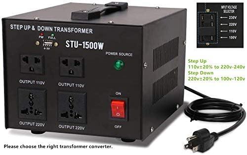 1500 Watt Voltage Converter Transformer Heavy Duty Step Down 1500W 110-220V BA