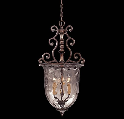 Savoy House Lighting 7-3006-3-8 St. Laurence Collection 3-Light Foyer Pendant, 25-Inch, New Tortoise Shell with Sliver Finish with Clear Watered Glass by Savoy House - Finish Tortoise
