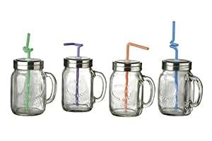 Oasis juego de 4 jarras de estilo tarro con pajita amazon - Tarro con pajita ...
