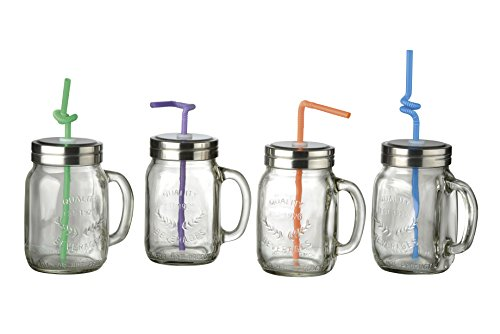 Artland Masonware Mason Jars with Bendy Straws, Set of 4 ()