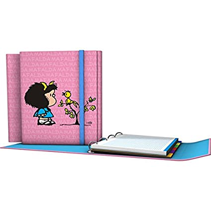 Grafoplás 88211949-Carpeta de anillas troqueladas A4, Diseño Mafalda Pajarito, con cierre de