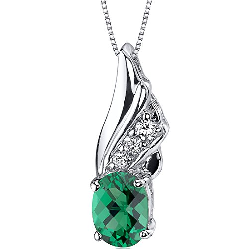 1.00 Carat Simulated Emerald Pendant Necklace in Sterling Silver Rhodium Nickel Finish - Beryl Green Pendant